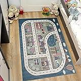 Tapiso Happy Kinder Teppich Kurzflor Blau Creme Mehrfarbig mit Modern Straßen Muster Ideal Spielteppich für Kinderzimmer Ökotex 140 x 190 cm
