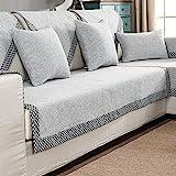 HM&DX Baumwolle Knitted Sofa abdeckung Sofa Überwurf Multi-size Anti-rutsch Schmutzresistent Einfarbig Sofahusse Für sektionaltore couch-grau 70x180cm(28x71inch)