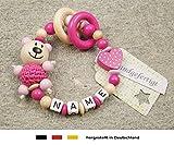 Baby Greifling Beißring geschlossen mit Namen | individuelles Holz Lernspielzeug als Geschenk zur Geburt & Taufe | Mädchen Motiv Bär und Herz in pink