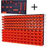 Lager Werkstatt Wandregal Lagerregal 75 Stapelboxen Orange Gr.1, 60 Stapelboxen Orange Gr.2, 8 Wandplatten + Haken