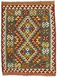CarpetFine: Kelim Afghan Teppich 85x112 Gelb,Rot - Geometrisch