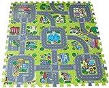 DEMU Kinderteppich Spielmatte Lernteppich 9tlg. 30x30cm Puzzlematte Verkehr Schutzmatte