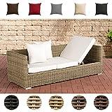 CLP Poly-Rattan Lounge-Sofa Solano 5 mm, ALU-Gestell, 3 er Sofa/Sonnenliege Rattanfarbe: Natura, Kissenfarbe: Cremeweiß