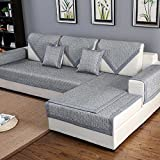HM&DX Baumwolle Gesteppter Sofa abdeckung Für haustiere hund,Multi-size Anti-rutsch Schmutzabweisend Sectional sofa slipcover Sofa throw-grau 90x120cm(35x47inch)