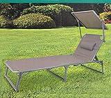 Quality Aluminium SONNENLIEGE | mit Kopfkissen und Sonnendach | Gartenliege Verstellbarer klappbare Liegestuhl ~cf966 bmd (Taupe)