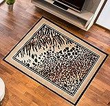 Teppich Tierfell ins Wohzimmer Muster Panther Designer Teppich Farbe Beige Schwarz 80 x 150 cm
