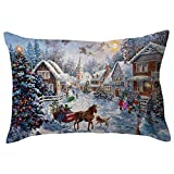 HUYURI Kissenbezug Frohe Weihnachten Leinen Kissenbezüge Sofa Rechteck Kissenbezug Dekoration 11,8'x 19,7' Zoll