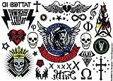 Tattoo ID Bad Boy Rock Tattoo, vergänglich / temporär, hypoallergen, hergestellt in Frankreich, 2identische Bögen für Herren und Damen