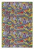 misento Kinderteppich Spielteppich Straßenteppich 200 x 300 cm Spielmatte im Strassendesign Kleinstadt Auto Spielunterlage Spielmatte Kinderzimmer schadstoffrei