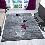 VIMODA Teppich Modern Design Grau Lila Schwarz Weiß Jugendzimmer Kurzflor Stern Muster - Pflegeleicht und Top Qualität, Maße:160x230 cm