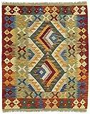 CarpetFine: Kelim Afghan Teppich 87x110 Grün,Rot - Geometrisch