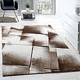 Paco Home Designer Teppich Modern Wohnzimmer Teppiche Kurzflor Meliert Braun Creme Beige, Grösse:160x220 cm