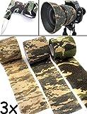 Outdoor Saxx - Camouflage Tarn-Tape | Gewebe-Band Wasserfest Mehrfach verwendbar | Kamera, Ausrüstung, Jäger, Angler, Fotografen | 4,5m, 3er Set