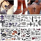 Temporäre Tattoos für Erwachsene Männer Frauen Kinder (4 Blätter), Wasserdicht Halloween