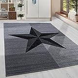 Moderner Kurzflor Guenstige Teppich Stern gesäumt Schwarz Grau Weiss meliert 5 Groessen Wohnzimmer, Jugendzimmer, meliert Kinderzimmer,, Größe:120x170 cm