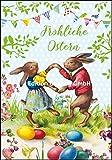 Nostalgische Osterkarte Carola Pabst * Tanzende Hasen * mit Glitzerlack