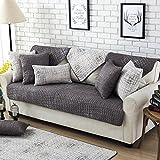 Fun life Baumwoll-Sofa Handtuch abdeckungen, Vier Jahreszeiten Universal Anti-Rutsch Multi-Size Sofa Gesteppte Sofa Slipcover Reversible Maschine Waschbar-Dunkelgrau 90x160cm(35x63inch)