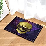 best& Halloween Decor, Goldenrod Skull Against Stars and Night Backdrop Bath Rugs, Non-Slip Doormat Floor Entryways Indoor Front Door Mat, Kids Bath Mat, 15.7x23.6in, Bathroom Accessories