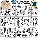 Temporäre Tattoos für Erwachsene Männer Frauen Kinder (30 Blatt), wasserdicht temporäre Tätowierung gefälschte Tattoos Body Art Aufkleber Cover Up Set (schwarze Blumen)