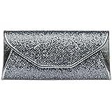 76e16882a0447 CASPAR TA347 Damen elegante Glitzer Clutch Tasche Abendtasche