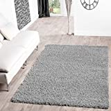 T&T Design Shaggy Teppich Hochflor Langflor Teppiche Wohnzimmer Preishammer Versch. Farben, Größe:200x280 cm, Farbe:grau