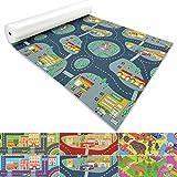 Spielmatte für Kinder mit Straßen und Häuser | schadstofffrei gemäß REACH | abwaschbar | rutschfester Kinderspielteppich | zahlreiche Größen | Feuerwehr Blau-Grau | 140x100 cm