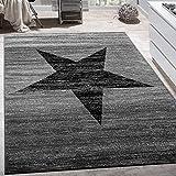 Paco Home Designer Teppich Stern Muster Modern Trendig Kurzflor Meliert In Grau Schwarz, Grösse:120x170 cm
