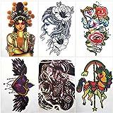 Temporäre Tattoos für Erwachsene Männer Frauen Kinder (6 Blätter), Wasserdicht Temporäre Tätowierung Fake Tattoos Body Art Aufkleber Vertuschen Set (Blume Herz Männer Frauen Einhorn)