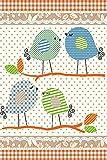 Kinder Teppiche für Kinderzimmer, Babyzimmer, Spielteppich süße Vogel design, Multi Farben Beige Terra Blau Grün Weiss_0520, Maße:80x150 cm