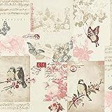 Holden Decor Songbird Vogel Schmetterling Rose Gemustert Postkarte Creme Tapete 11264