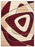 Carpeto Designer Teppich Retro Abstrakt Modern Meliert in Rot, Beige - ÖKO Tex (200 x 300 cm)