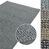 Kurzflor Teppich Carlton | Flachgewebe dezent gemustert | robuster Schlingenteppich in vielen Größen | als Wohnzimmerteppich, Küchenteppich, Schlafzimmerteppich (Hellgrau - 200x300 cm)