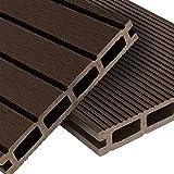 WPC Terrassendielen Basic Line - Komplett-Set Dunkelbraun   12m² (4m x 3m) Holz-Brett Dielen   Boden-Fliesen + Unterkonstruktion & Clips   Balkon Boden-Belag + rutschfest + witterungsbeständig