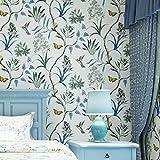 lianle Tapete Mystic Forest Blumen Vögel Schmetterlinge Wall Papper Dekoration Wandtattoo Ländlich blau