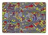 misento Kinderteppich Spielteppich Straßenteppich 140x200 cm | Spielmatte mit Straßendesign Kleinstadt Auto | Spielunterlage Spielmatte Verkehrsteppich | schadstofffrei allergikergeeignet
