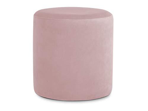 moebel-eins POUFI Hocker rund Pouf Polsterhocker Sitzhocker Sitzwürfel Fußhocker Bezug Samt, Rose