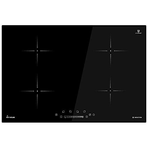 KKT KOLBE Induktionskochfeld 77cm / Autark / 6kW / 9 Stufen / 4 Zonen/Rahmenlos/TouchSelect Sensortasten/Slider-Steuerung/Booster/LED-Anzeige / IND8000RL