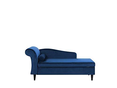 Beliani Moderne Chaiselongue mit angenehmer Polsterung aus Samtstoff in Marineblau Luiro