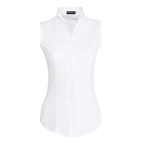 HEVENTON Damen Hemdbluse mit Kelchkragen Ärmellos tailliert bügelleicht 1209 Farbe Weiß, Größe 38