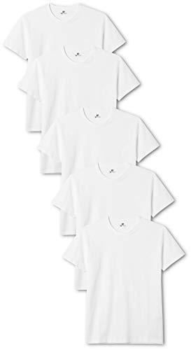 Lower East Herren T-Shirt mit Rundhalsausschnitt, Weiß (Weiß), Large, 5er Pack