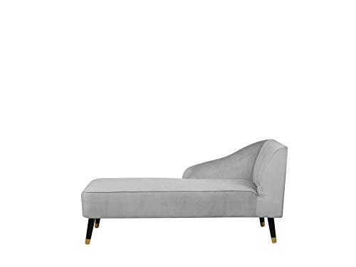 Beliani Moderne Chaiselongue aus hellgrauem Samtstoff Alsvag