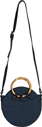 styleBREAKER Damen Runde Umhängetasche mit Bambus Henkeln und strukturierter Oberfläche, Schultertasche, Henkeltasche, Tasche 02012292, Farbe:Dunkelblau