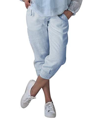 Onsoyours Damen Baumwolle Leinen Capri Hose Sommer Leicht 3/4 Länge Kurze Baggyhose Chino Hose Lässig Einfarbig Strandshorts Stoffhose Freizeithose Blau Large