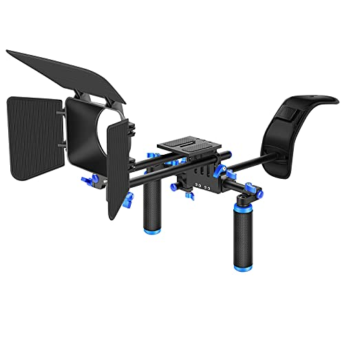 Neewer® DSLR Film Video Kamera, Rig Set System Kit für Camcorder oder DSLR wie Canon Nikon Sony Pentax Fujifilm Panasonic, enthalten: (1) Shoulder Mount + (1) 15mm Rail Rod System + (1) matt Box