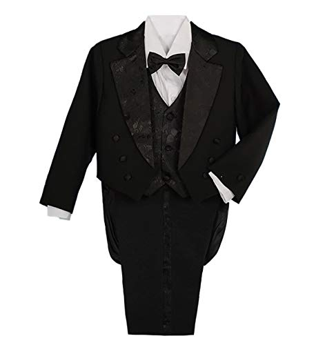 Lito Angels Jungen 5 Teiliges Formale Smoking Anzug Anlass Kleidung Page Boy Anzug Taufanzug mit Schwanz 4 Jahre Schwarz