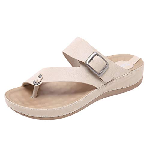 ZIYOU Damen Strand Hausschuhe, Sommer Peep-Toe Pantoffeln mit Metall Gürtelschnalle Komfortable Flach Schuhe(Beige,39 EU)