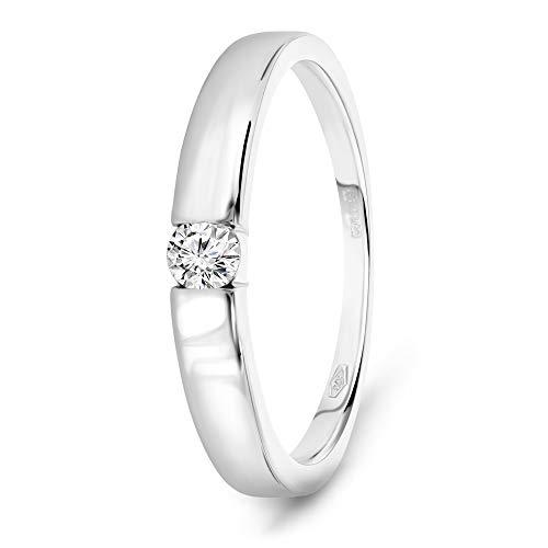 Miore Ring Damen 0.10 Ct Solitär Diamant Verlobungsring aus Weißgold 9 Karat / 375 Gold, Schmuck