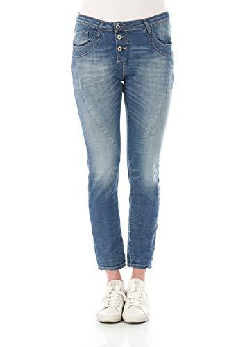 Please Damen Jeans P78A-LAVPS42 - Boyfriend - Blau - Medium Blue Denim XXS XS S M L XL 98% Baumwolle Stretchjeans Damenjeans, Größe:XS, Farbvariante:Medium Blue (0021)