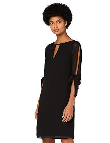 Amazon-Marke: TRUTH & FABLE Damen Chiffon-Kleid mit A-Linie, Schwarz (Black), 44, Label:XXL