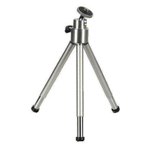 Hama Mini-Stativ für Handy, Kamera oder Action-Cam, mit 3D Kugelkopf, stabil, aus Metall, Silber